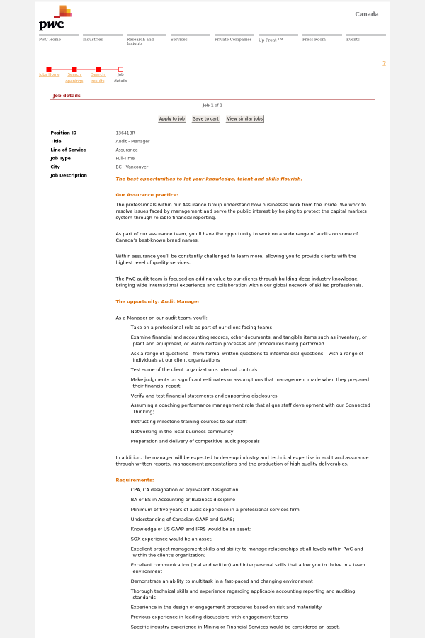 Audit - Manager job at PricewaterhouseCoopers in Vancouver, Canada ...