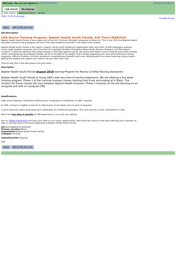 Cna Novice Training Program Baptist Health South Florida Job At