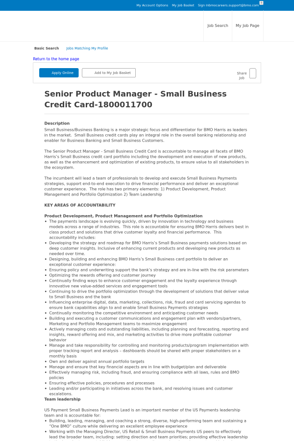 Senior product manager small business credit card job at bmo description reheart Gallery