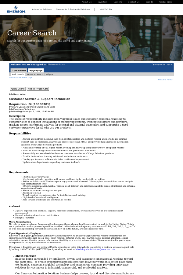 Customer Service & Support Technician job at Emerson
