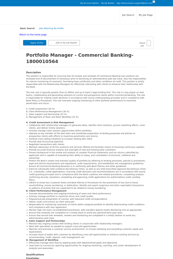 Portfolio Manager - Commercial Banking job at BMO Harris Bank in ...
