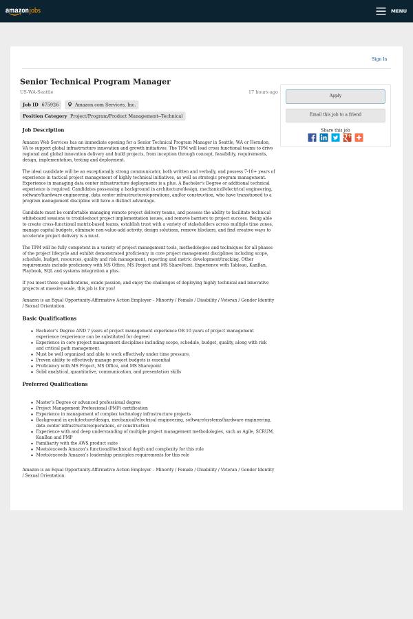 Senior Technical Program Manager Job At Amazon In Seattle Wa