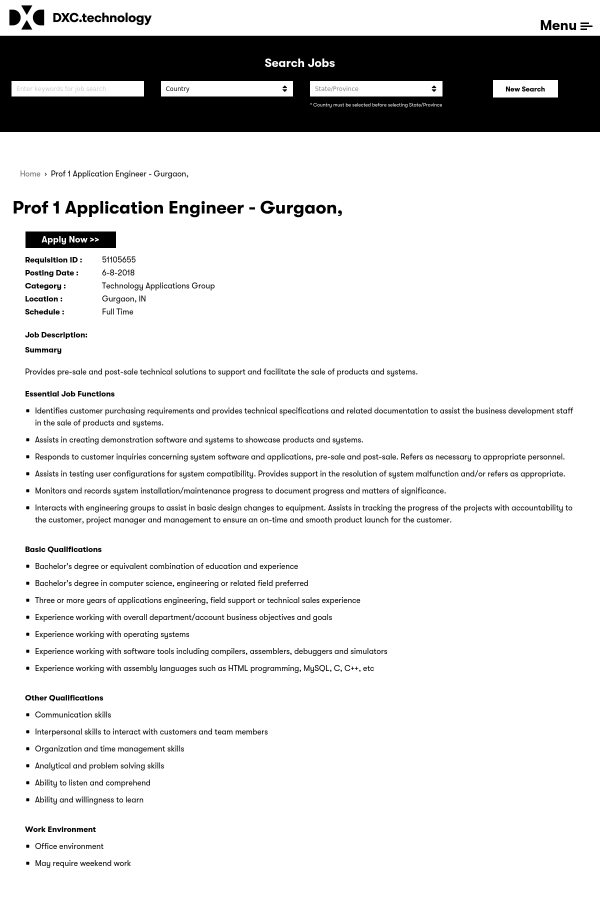 Prof 1 Application Engineer job at DXC Technology in Gurgaon, India ...