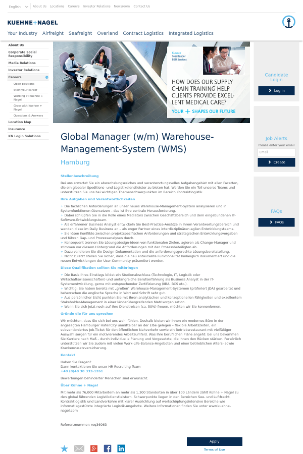 Global Manager (w/m) Warehouse - Management - System (WMS) job at ...