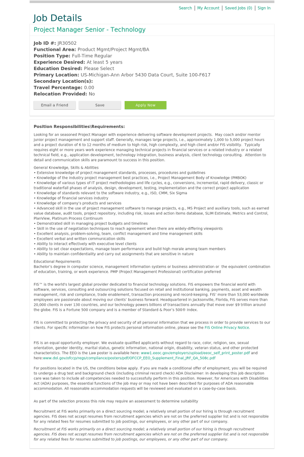 Project Manager Senior Technology Job At Fis In Ann Arbor Mi