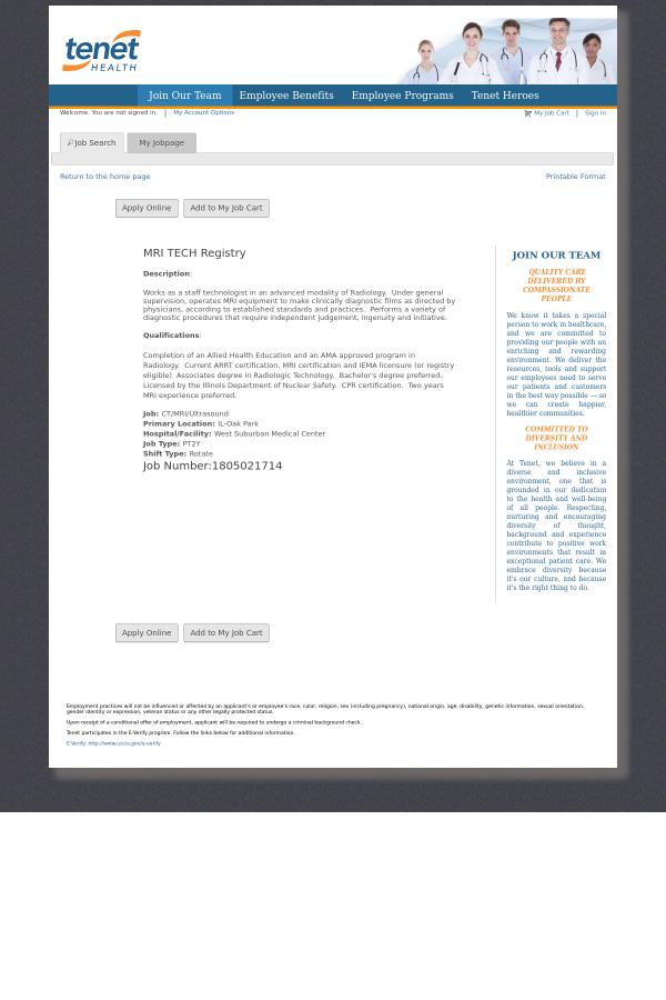 Mri Tech Registry Job At Tenet Healthcare In Oak Park Il 12924877