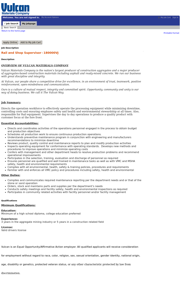 Rail and Shop Supervisor job at Vulcan Materials Company in ...