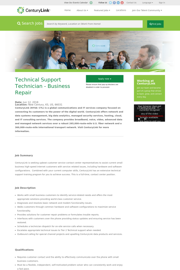 Technical Support Technician - Business Repair job at CenturyLink in ...