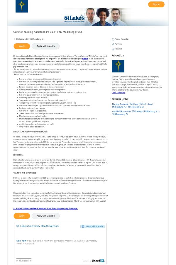 Certified Nursing Assistant 3a 11a 4n Med Surg 40 Job At