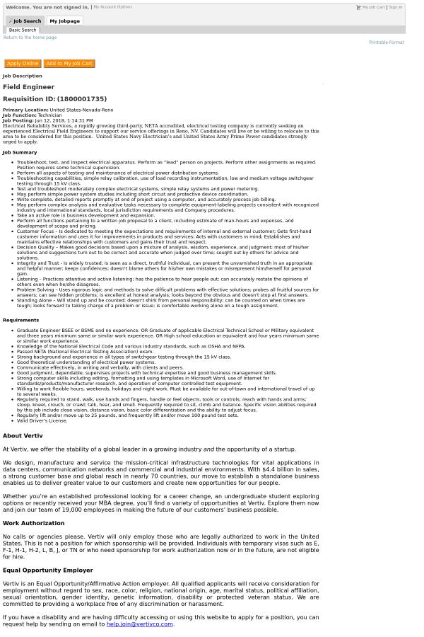Field Engineer job at Vertiv in Reno, NV - 12943700 | Tapwage Job Search