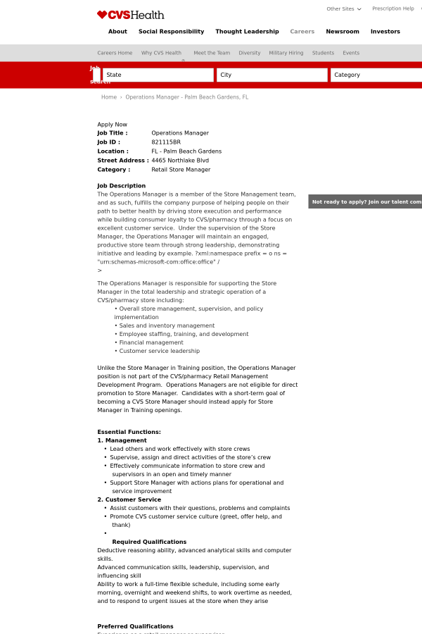 Operations Manager Job At CVS Health In Palm Beach Gardens FL