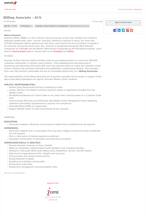 Billing Associate Aus Job At Aramark In Fridley Mn 12964709