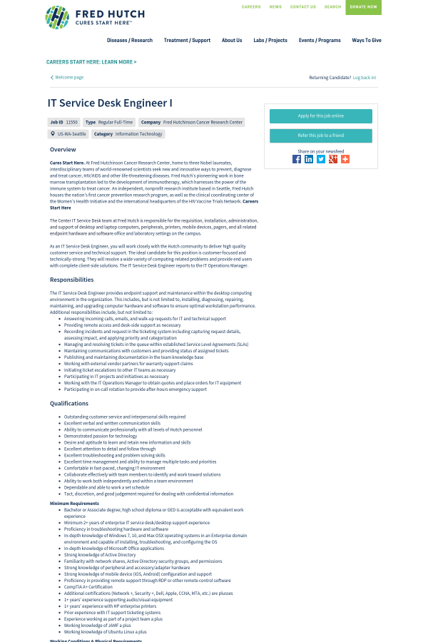 IT Service Desk Engineer I job at Fred Hutchinson Cancer Research ...