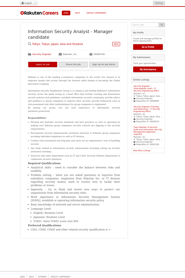 Information Security Analyst - Manager Candidate job at Rakuten in