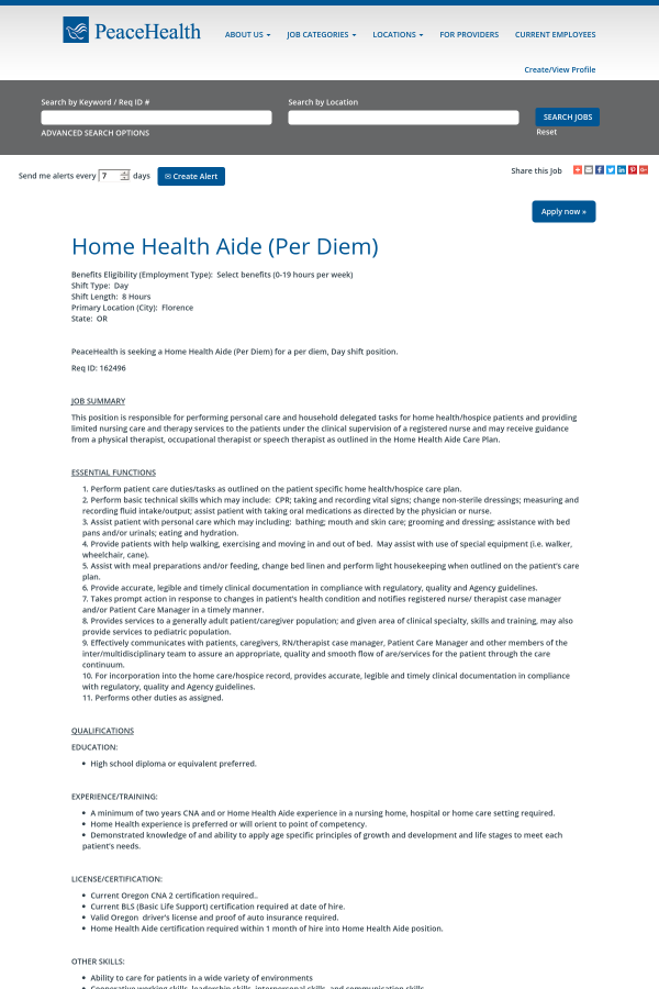 Home Health Aide Job At Peacehealth In Florence Or 13000814