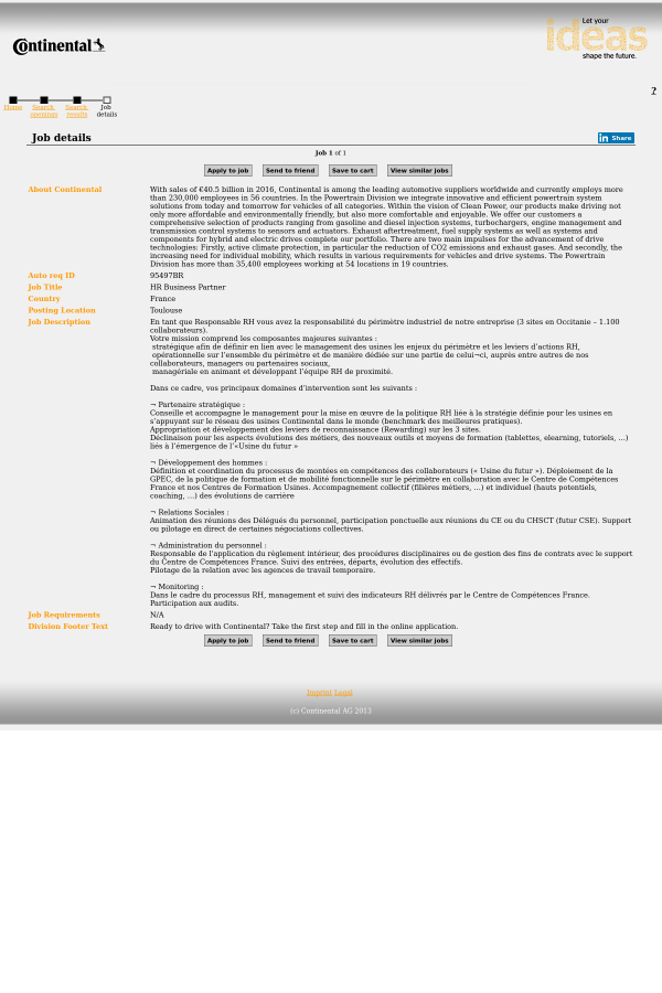HR Business Partner job at Continental AG in Toulouse, France ...