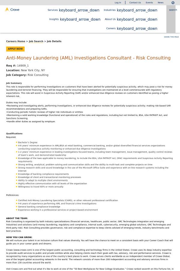Anti Money Laundering Aml Investigations Consultant Risk