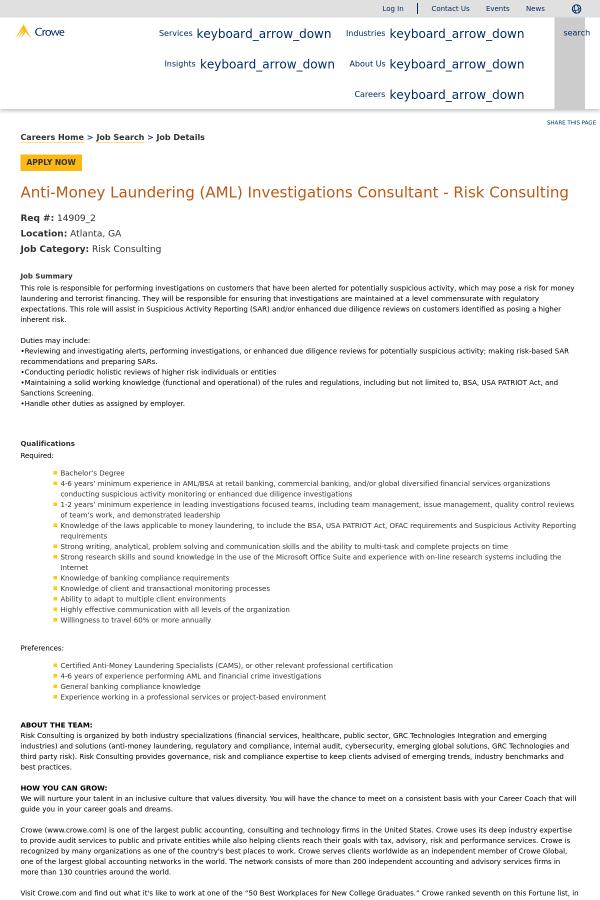 Anti-Money Laundering (AML) Investigations Consultant - Risk ...