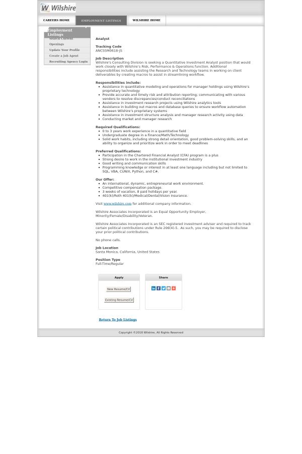 Analyst job at Wilshire Associates in Santa Monica, CA - 13023321 ...
