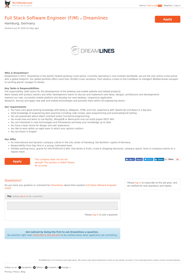 Full Stack Software Engineer (f/m) job at Dreamlines in