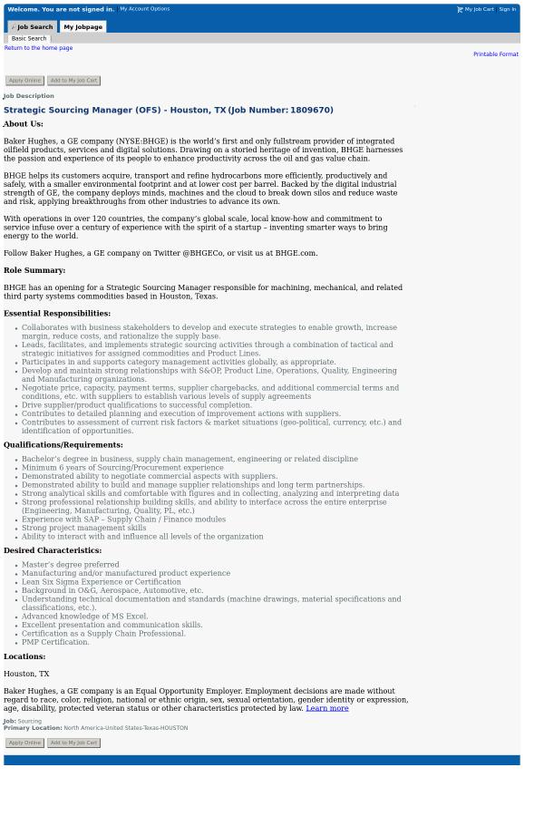 Strategic Sourcing Manager Ofs Houston Tx Job At Baker Hughes