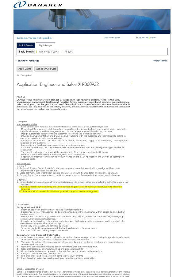 Application Engineer and Sales job at Danaher Corporation in Seoul ...