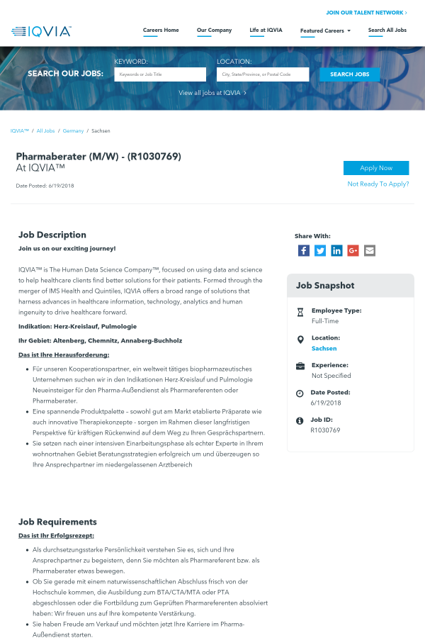 Pharmaberater job at IQVIA in Sachsen, Germany - 13051393 | Tapwage ...