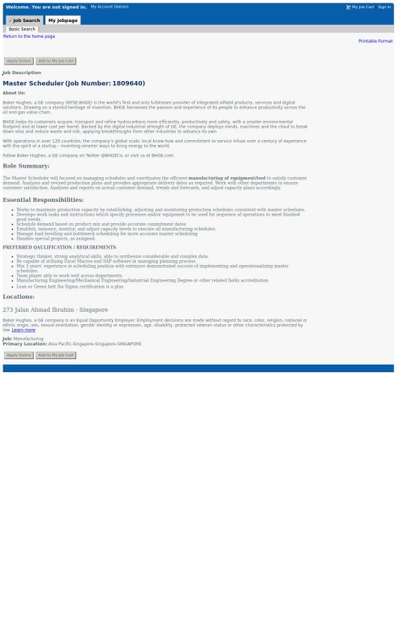 Master Scheduler job at Baker Hughes in Singapore - 13058703 ...