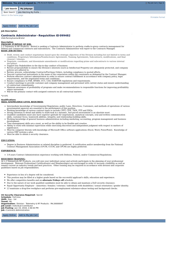 Contracts Administrator Job At L3 Technologies In Bristol Pa