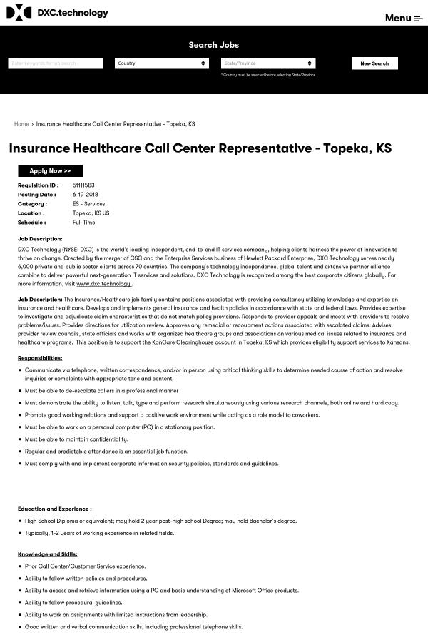 Insurance Healthcare Call Center Representative job at DXC ...