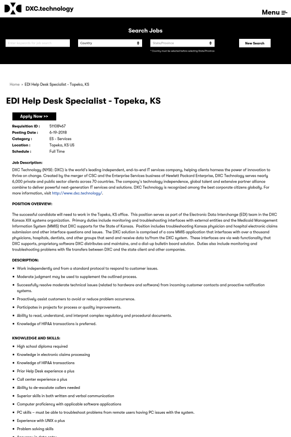 EDI Help Desk Specialist job at DXC Technology in Topeka, KS ...