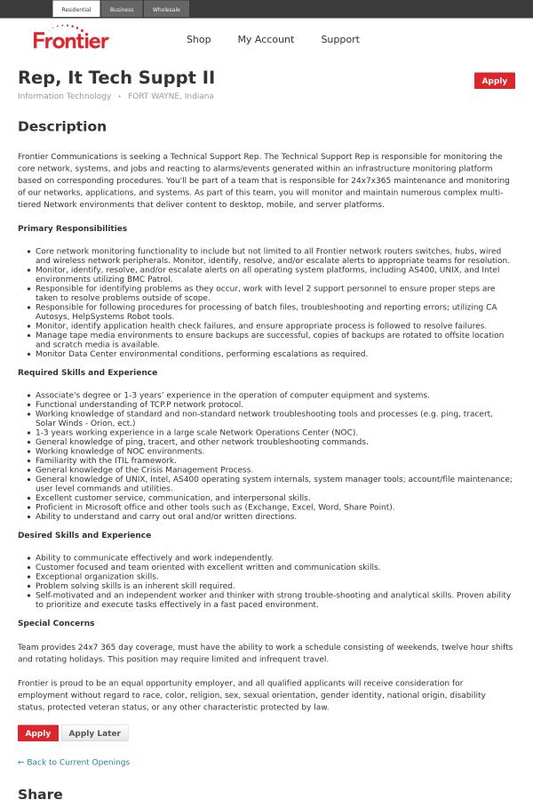 Representative, IT Tech Suppt II job at Frontier Communications ...