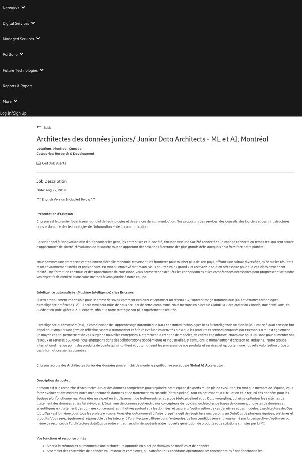 Architectes Des Données Juniors / Junior Data Architects - ML ET AI