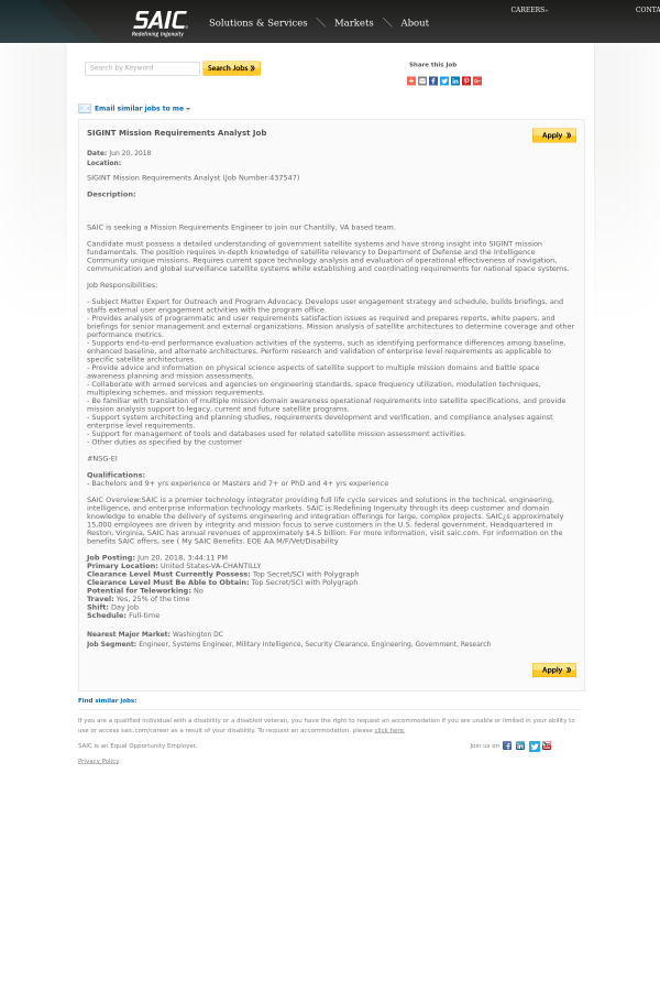 SIGINT Mission Requirements Analyst job at SAIC in Chantilly