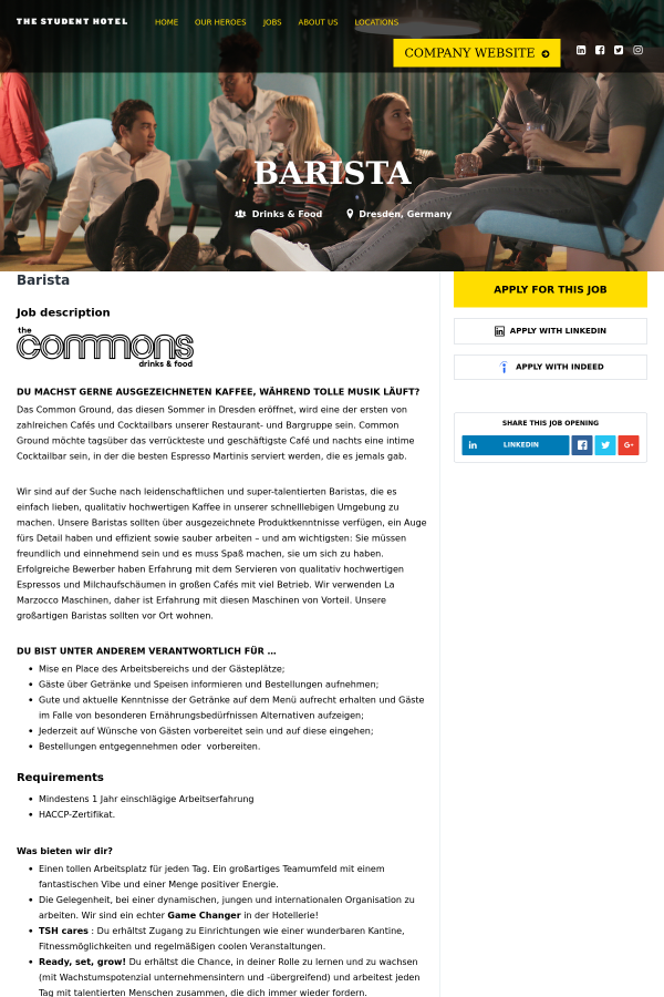 Barista job at The Student Hotel Corporate in Dresden, Germany ...