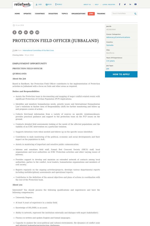 Somalia Protection Field Officer (Jubbaland) job at