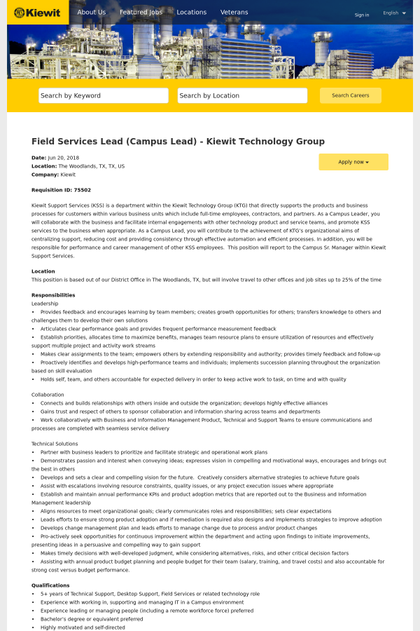 Field Services Lead (Campus Lead) - Kiewit Technology Group job at ...