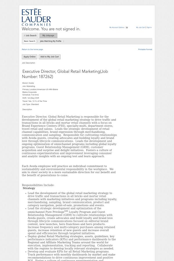 Executive Director, Global Retail Marketing job at Estée Lauder ...