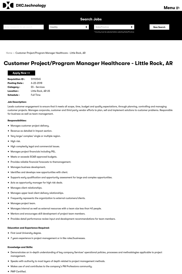 Customer Project Program Manager Healthcare Job At Dxc Technology