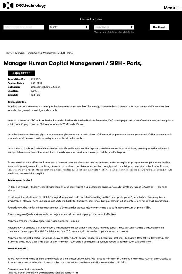 Manager Capital Management / Sirh job at DXC Technology in ... on bob job, tony job, charlie job,