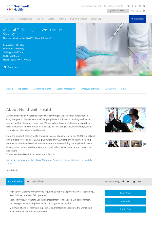 Medical Technologist - Westchester County job at Northwell