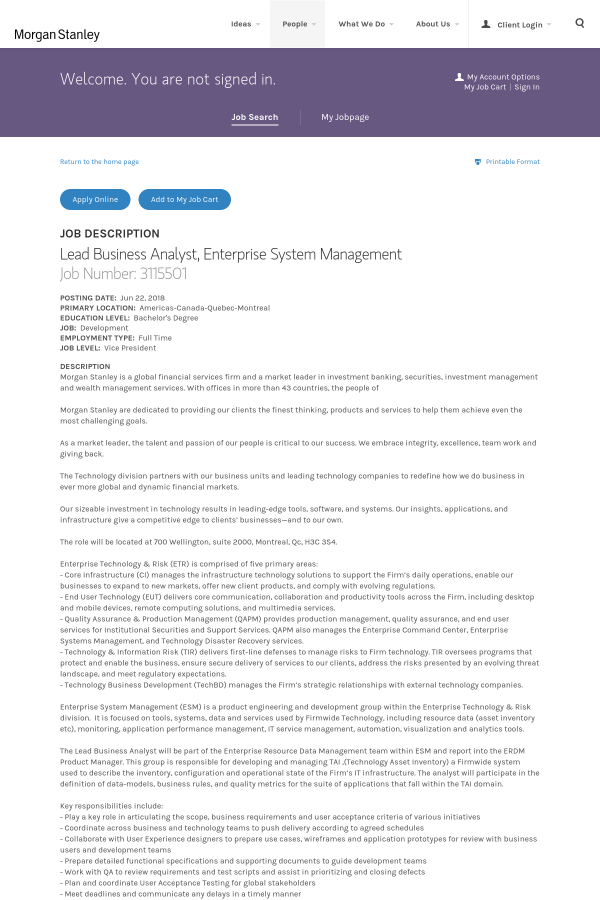 Lead Business Analyst, Enterprise System Management job at