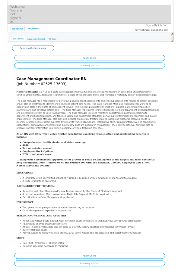 Case Management Coordinator Registered Nurse Job At Hca Holdings