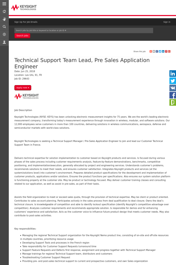 Technical Support Team Lead, Pre Sales Application Engineer job at ...