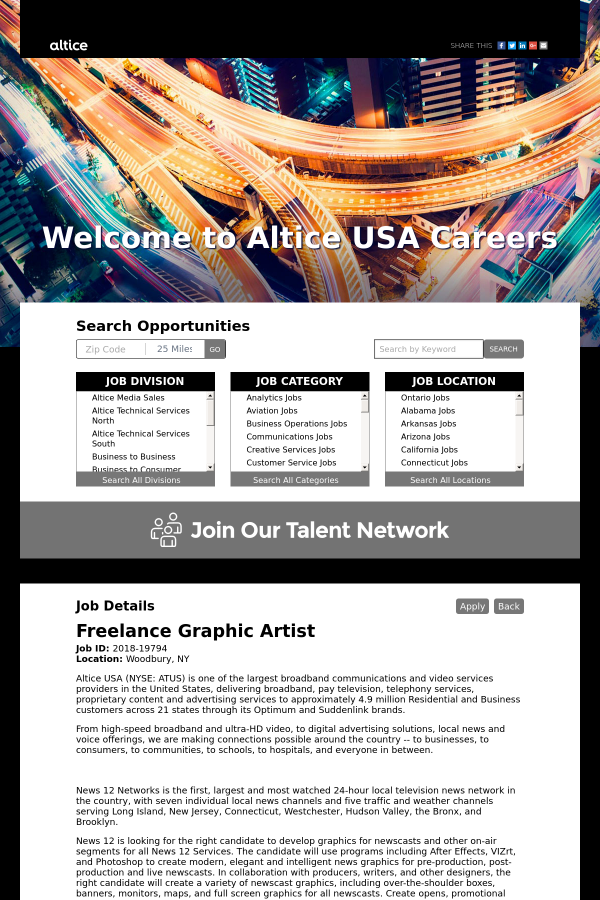 Graphic Artist job at Altice USA in Woodbury, NY - 13137725