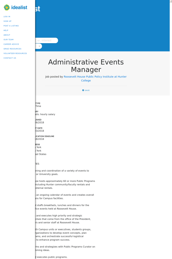 Administrative Events Manager job at Job posted by Roosevelt