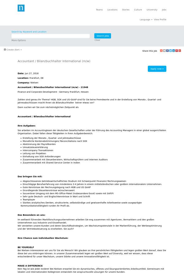 Accountant / Bilanzbuchhalter International (m/w) job at The Nielsen ...