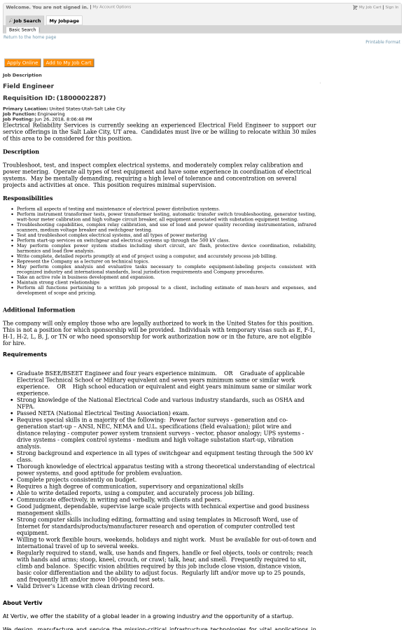 Field Engineer job at Vertiv in Salt Lake City, UT - 13171573 ...