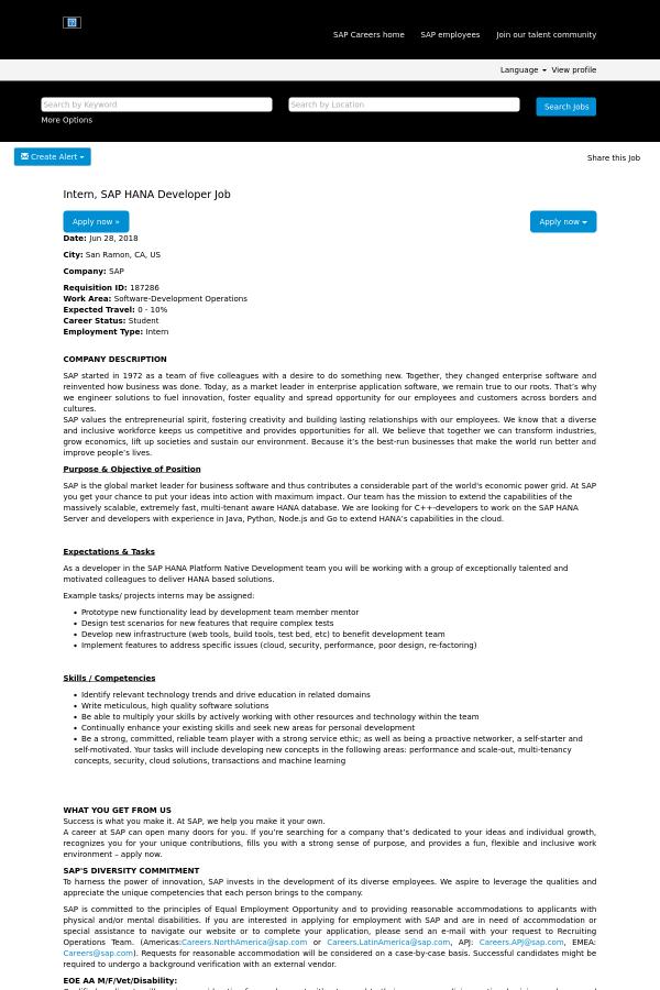Intern, SAP HANA Developer job at SAP in San Ramon, CA