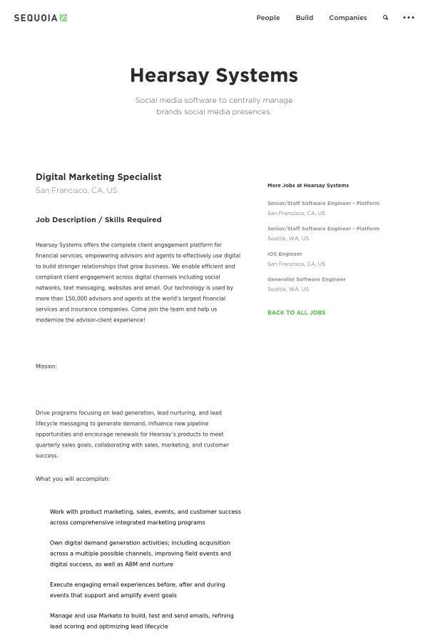 Digital Marketing Specialist job at Hearsay Systems in San Francisco ...